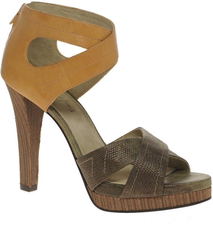Elizabeth and James Eden Lizard Effect Platform Strapped Heeled Sandals