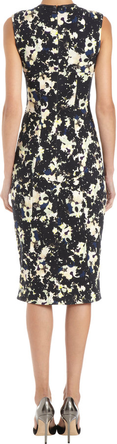 Erdem Fitted Multicolored Silhouette Print Dress