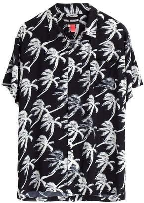 DOUBLE RAINBOUU Short Sleeve Hawaiian Shirt In Blow Out Black
