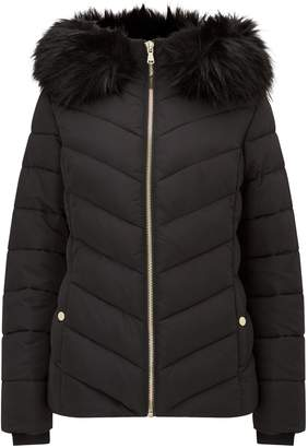 Miss Selfridge Fur Hooded Puffer Black