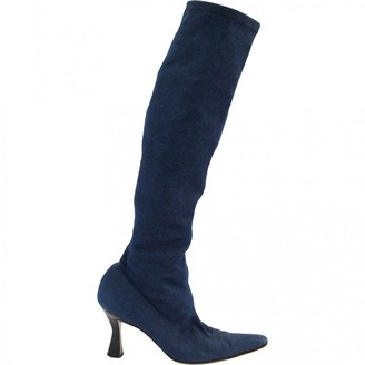 Christian Dior Blue Cloth Boots