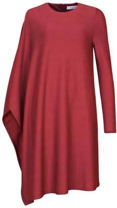 PAISIE - Asymmetric Jersey Dress In Burgundy