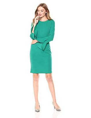 Donna Morgan Women's Long Ruffle Sleeve Sheath Dress