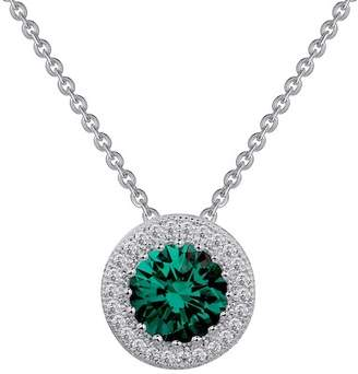 Lafonn Platinum Over Sterling Silver Simulated Diamond Halo & Simulated Emerald Pendant Necklace