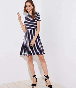 LOFT Petite Striped Cutout Back Flare Dress