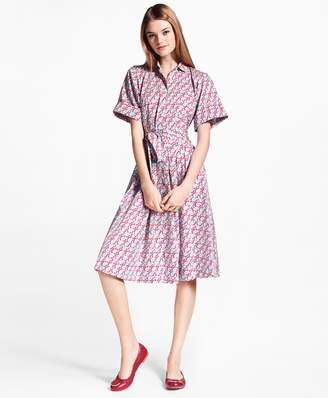 Brooks Brothers Hula-Dancer-Print Cotton Sateen Shirt Dress