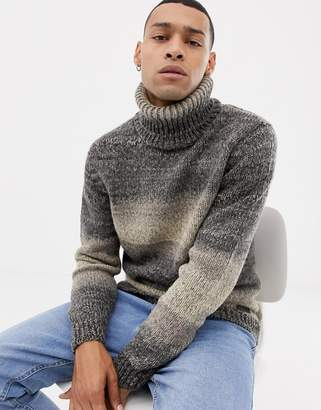 Esprit chunky wool blend knit ombre stripe roll neck sweater in gray