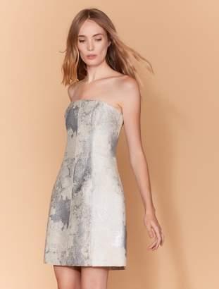 Halston Strapless Metallic Jacquard Dress