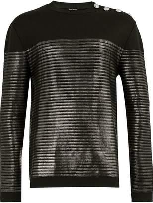 Balmain metallic striped sweatshirt