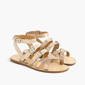 J.Crew Strappy buckled sandals in metallic gold