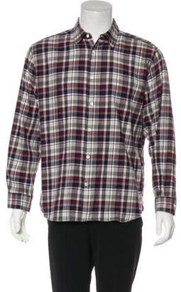 Closed Plaid Button-Up Shirt