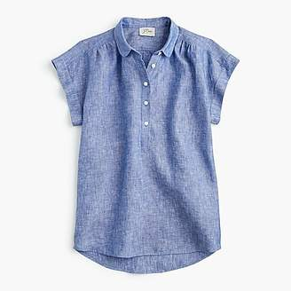 J.Crew Petite collared popover in cross-dyed linen