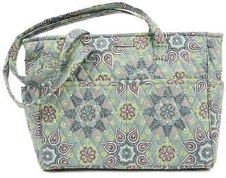 Ashton & Willow Dusty Turquoise Green Bohemian Handbags Luna Gabby Cotton Pewter Hardware Floral / Flower Tote