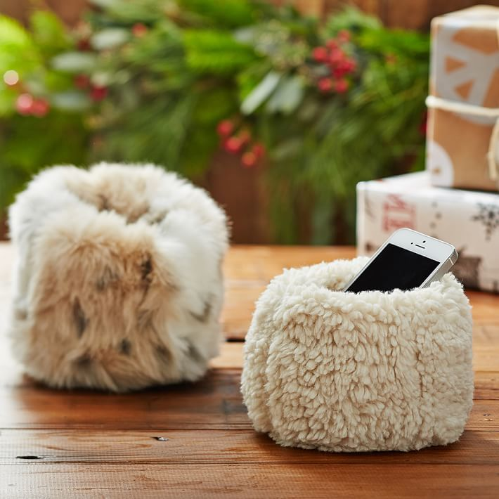 Faux Fur Beanbag Cell Phone Holder 2