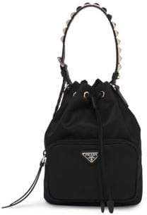 Prada Nylon Bucket Bag with Studding