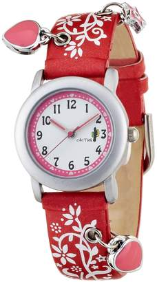 Cactus CAC Girls Watch with dial and Red Flower Strap CAC-28-L07