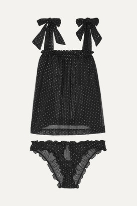 Le Petit Trou - Lou Ruffled Glittered Polka-dot Stretch-tulle Pajama Set - Black