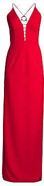 Aidan Mattox Women's Plunging Cutout Column Gown - Size 0