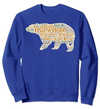 National Parks Sweatshirt with Bear Listing All 59 Parks