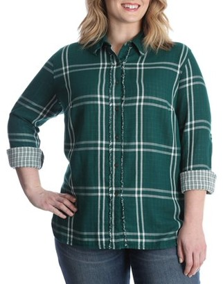 Lee Riders Women's Plus Long Sleeve Woven Shirt with Fraying