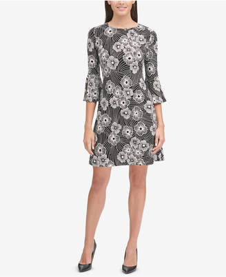 Tommy Hilfiger Bell-Sleeve Floral Jersey Dress