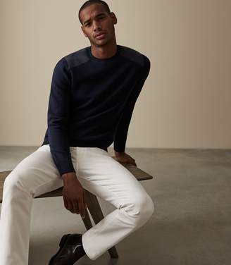 Reiss DONALDSON SWEATSHIRT WITH SHOULDER DETAILING Navy