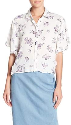 CODEXMODE Button Front Ruffle Accent Short Sleeve Shirt