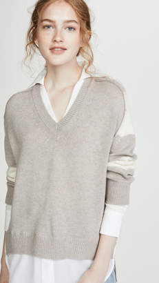 Brochu Walker Striped V Neck Layered Pullover