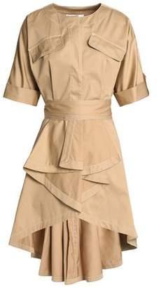 Badgley Mischka Ruffled Cotton-Poplin Mini Dress