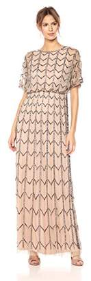 Adrianna Papell Women's Short Sleeve Zig Zag Beaded Long Blousson Gown, Taupe/Pink, 2