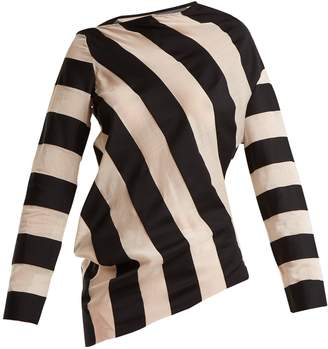 Marques Almeida MARQUES'ALMEIDA Asymmetric-hem striped cotton-blend top