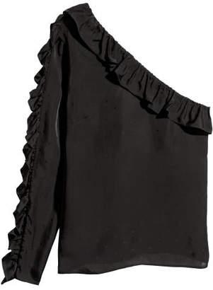 H&M One-shoulder Blouse - Black