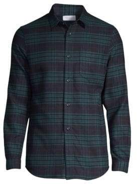 John Elliott Plaid Button-Front Shirt