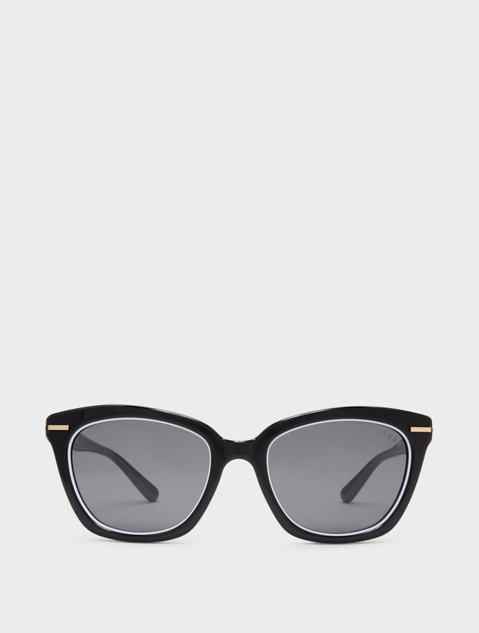 DKNY Narrow Square Sunglasses With Dash Lines