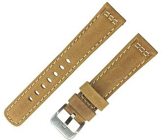 Dakota 19398 Genuine Leather Watch Band with Contrast White Stitching