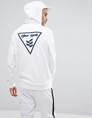 Gio-Goi Hoodie With Flock Logo And Back Print In White