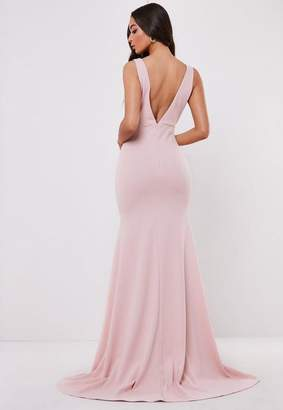 Missguided Bridesmaid Blush Sleeveless Low Back Maxi Dress