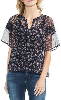 Vince Camuto Manor Ditsy Flutter Sleeve Blouse