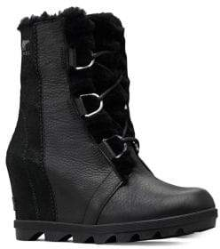 Sorel Joan Wedge II Shearling-Lined Leather Hiking Boots
