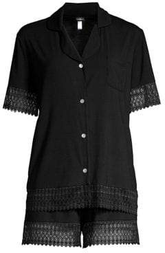 Cosabella Lunna Lace-Trimmed Boxer Pajama Set