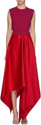SOLACE London 'Harlech' belted cutout back asymmetric dress