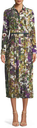 Max Mara Button-Down Long-Sleeve Belted Floral-Print Dress
