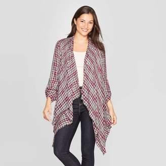 Knox Rose™ Women's Plaid 3/4 Sleeve With Frayed Cascade Front Kimono Jacket - Knox RoseTM Mulberry