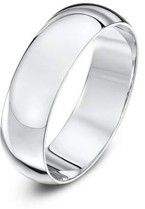 Theia Unisex Super Heavy D Shape Polished Platinum 6 mm Wedding Ring - Size U
