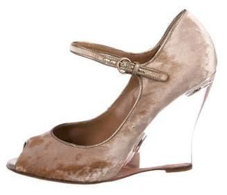 7cb97691a90 Valentino Velvet Peep-Toe Wedges