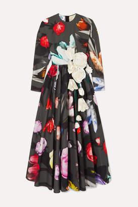 Prada Appliquéd Floral-print Cotton-sateen Gown - Black