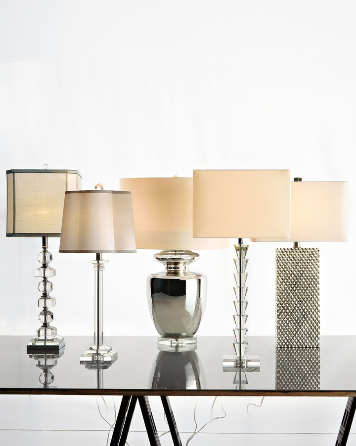 Horchow Stacked Pyramid Crystal Lamp