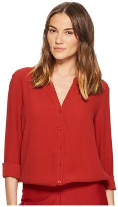 Eileen Fisher Silk Georgette Crepe Stand Collar Top Women's Long Sleeve Button Up