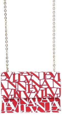 Lanvin Sugar Logoed White & Ruby Leather Bag