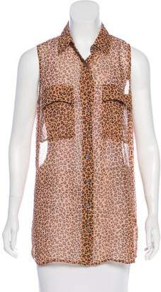 Equipment Silk Leopard Print Sleeveless Top